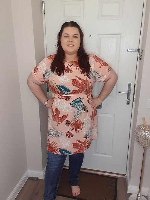 Leaf Pattern Tunic Dress