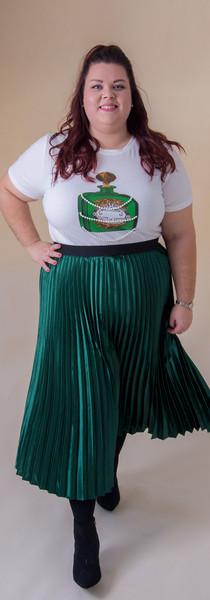 Green Metallic Skirt & T-shirt Set