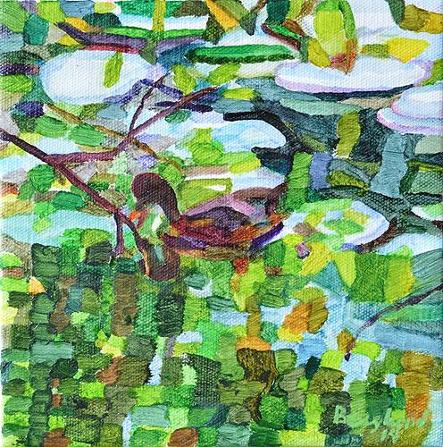 Duck Pond 26, 20 x 20 cm, olja