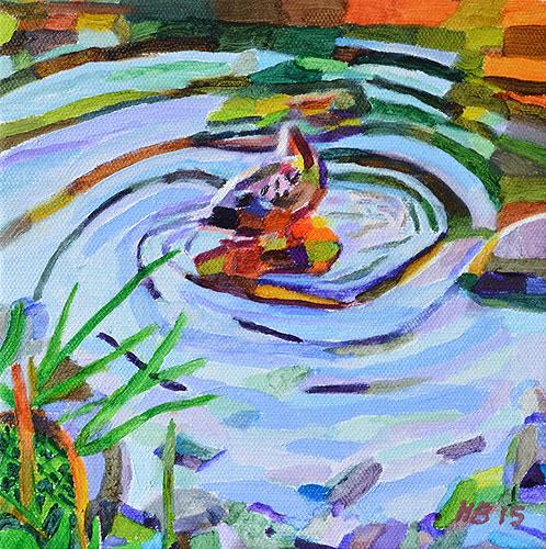Duck Pond 30, 20 x 20 cm, olja