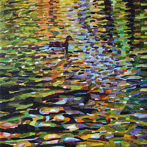 Duck Pond 18, 54 x 54 cm, olja