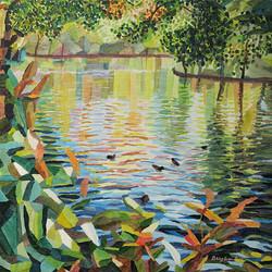 Duck Pond 2, 54 x 54 cm, olja på duk