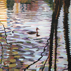 Duck Pond 14, 54x54 cm, olja på duk