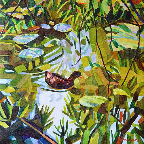 Duck Pond 20 54 x 54 cm, olja