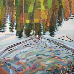 Duck Pond 5, 54x54 cm, olja på duk