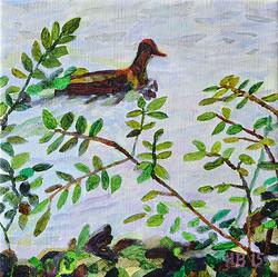Duck Pond 28, 20 x 20 cm, olja