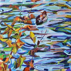 Duck Pond 17, 54 x 54 cm, olja
