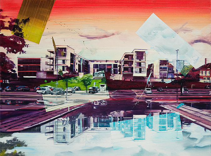City reflections, 90 x 120 cm