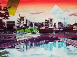 City reflections, 90 x 120 cm