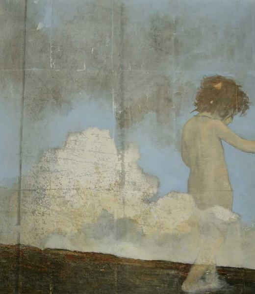 Lek bland molnen, 80 x 116 cm