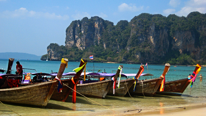 Longtail boats Railay beach