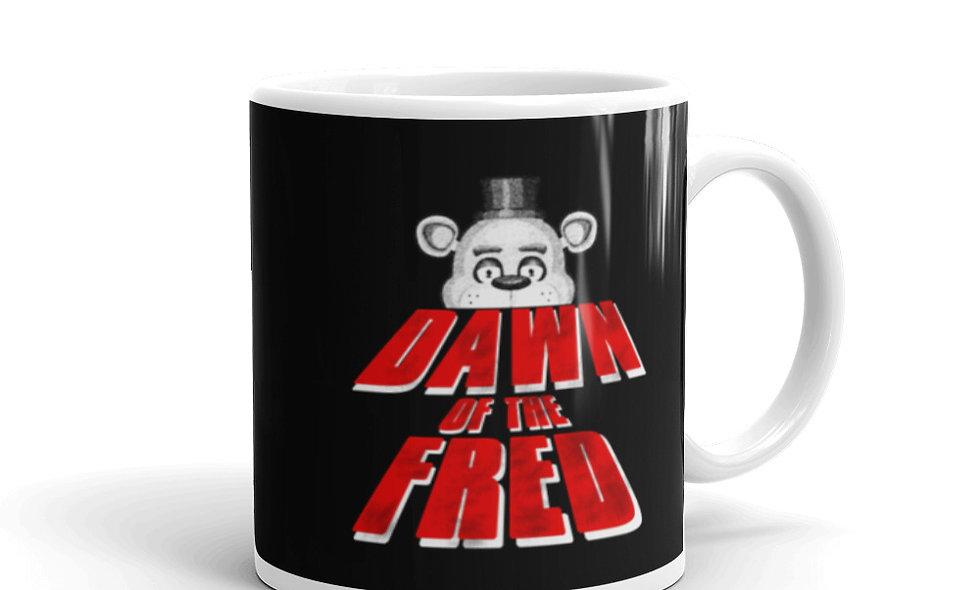 Dawn of the Fred (Five) White glossy mug