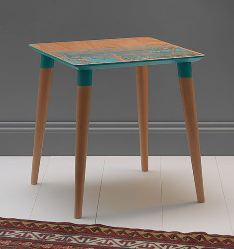 Cityscape Table London Turquoise Blue by AgarDC