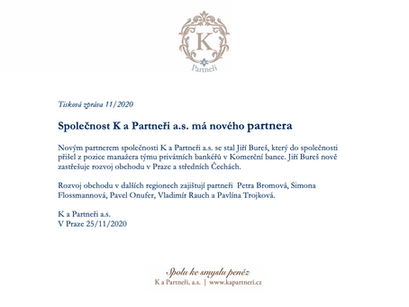 Společnost K a Partneři a.s. má nového partnera