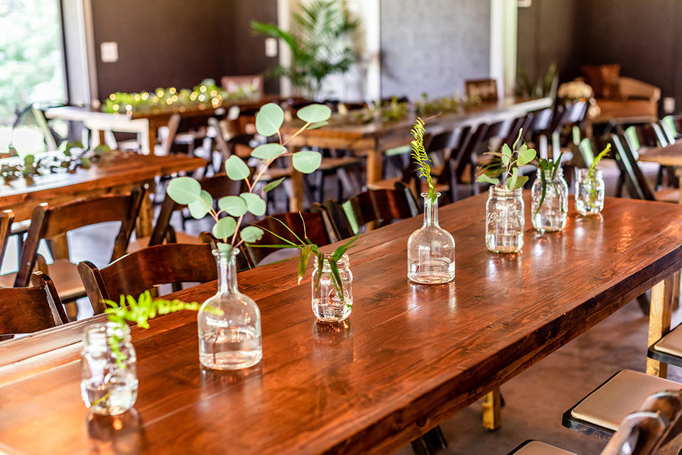 Wooden farm tables and chairs