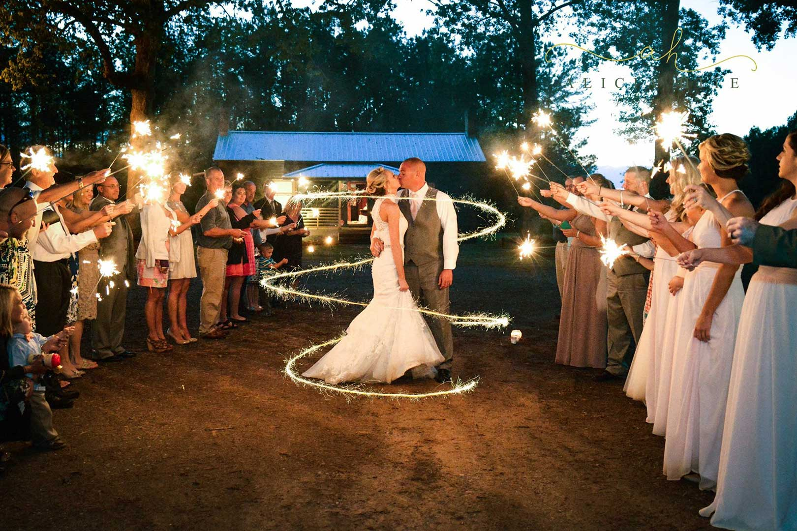 Sparklers at a Sugarneck wedding