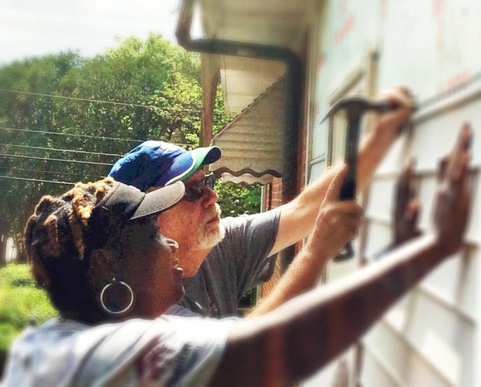Clive Rainey and an AmeriCorps volunteer at Build-a-Thon