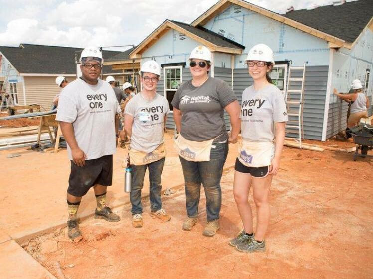 Sarah Allen, SHFH's AmeriCorps National member, pictured far right.