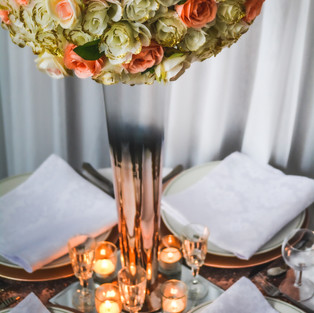 Ombre rose gold vase with a pomander (colour and style of your choice)