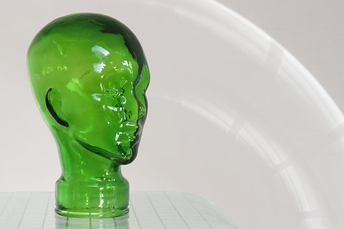 Vintage Life Size Green Glass Head Mannequin Display