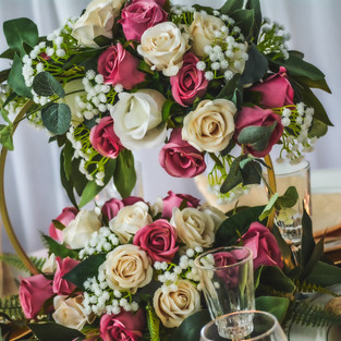Delicate small hoop on a sophisticated rose arrangement