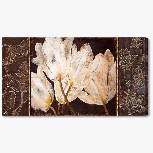 M224 - Quadro moderno fiori bianchi su fondo marrone