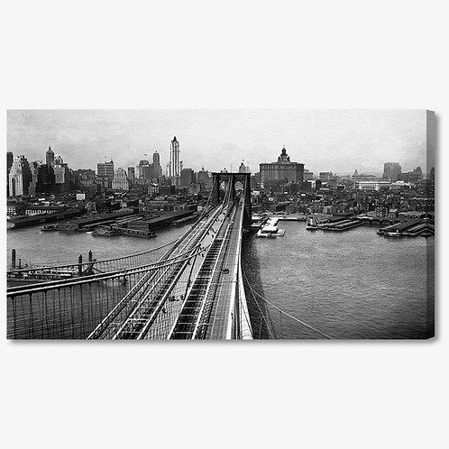 RBA237 - Quadro moderno NYC ponte di Brooklyn bianco e nero