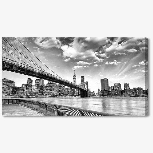 M1017 - Quadro moderno NYC ponte di brooklyn bianco e nero