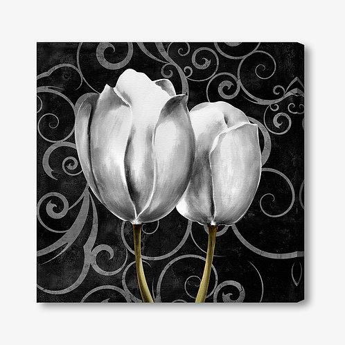 M019 - Quadro moderno floreale coppia di tulipani bianchi