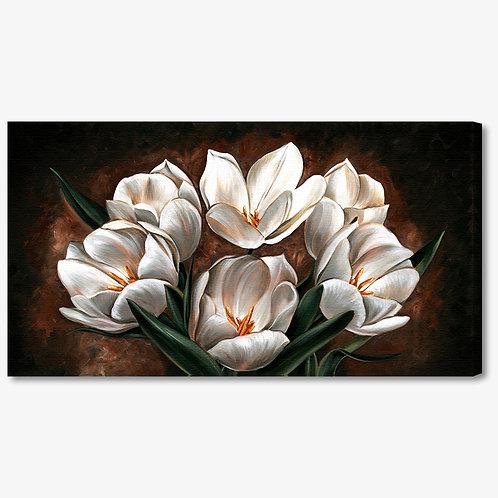M600 - Quadro moderno fiori bianchi su fondo marrone