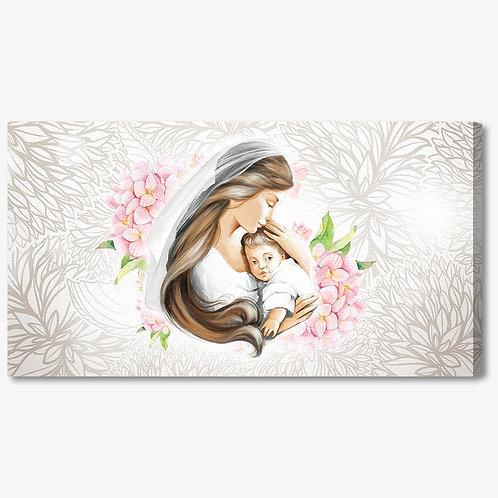 M1171 - Capezzale classico maternità su fondo argento floreale