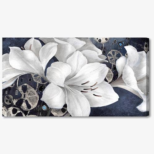 M384 - Quadro moderno fiore bianchi su fondo blu