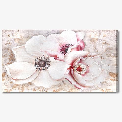 M713 - Quadro moderno floreale fiori bianchi e rosa