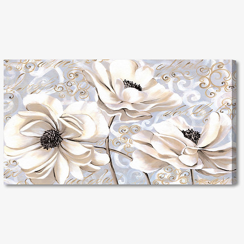 M714 - Quadro moderno floreale fiori bianchi