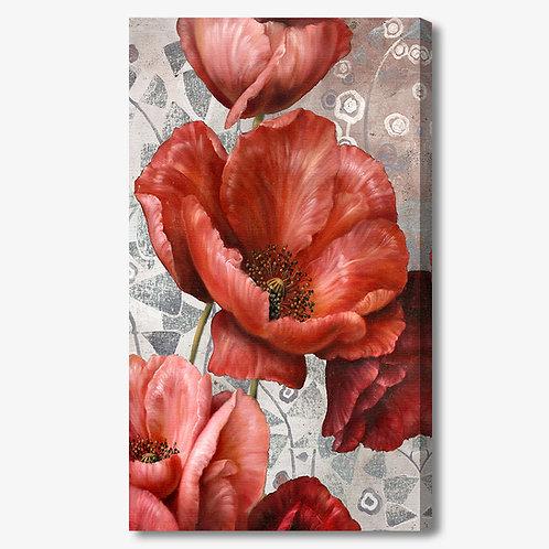 M393 - Quadro moderno fiori rossi verticale
