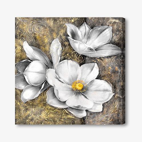 M286 - Quadro moderno floreale fiori bianchi