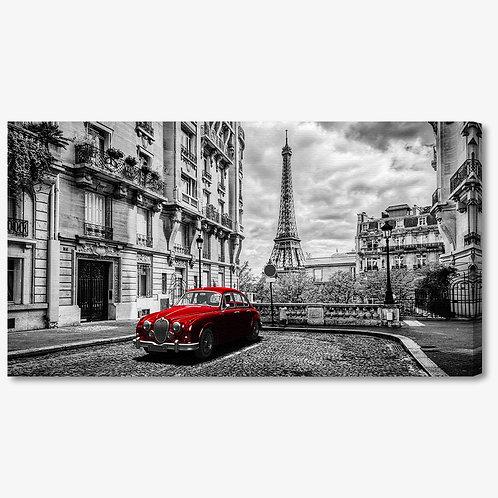 M1361 - Quadro moderno Parigi macchina rossa