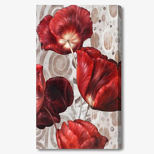 M394 - Quadro moderno fiori rossi verticale