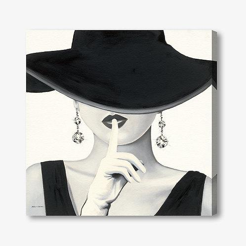 WA195 - Quadro moderno donna con cappello bianco e nero