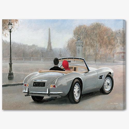 WA210 - Quadro moderno Parigi innamorati in macchina