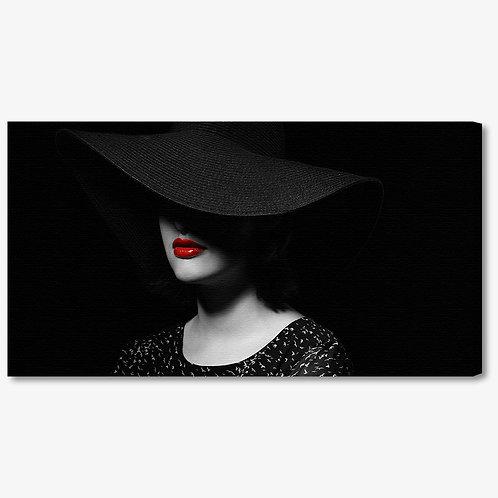 M1375 - Quadro moderno donna con cappello e labbra rosse