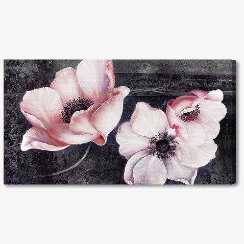 M486 - Quadro moderno fiori rosa su fondo nero