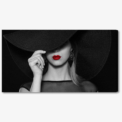 M1374 - Quadro moderno donna con cappello e labbra rosse
