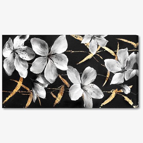 M288 - Quadro moderno fiori bianchi su fondo nero