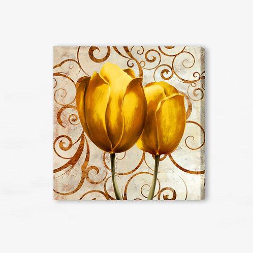 M018 - Quadro moderno floreale coppia di tulipani gialli