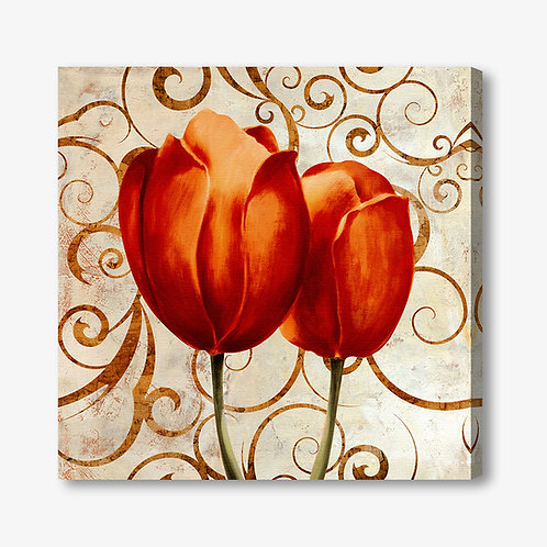 M017 - Quadro moderno floreale coppia di tulipani rossi