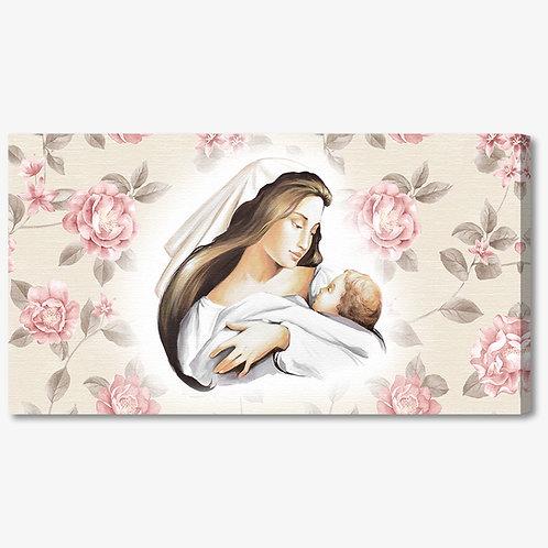M1178 - Capezzale classico maternità con sfondo floreale