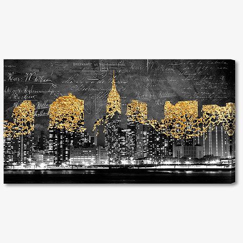 M984 - Quadro moderno NYC grattacieli oro
