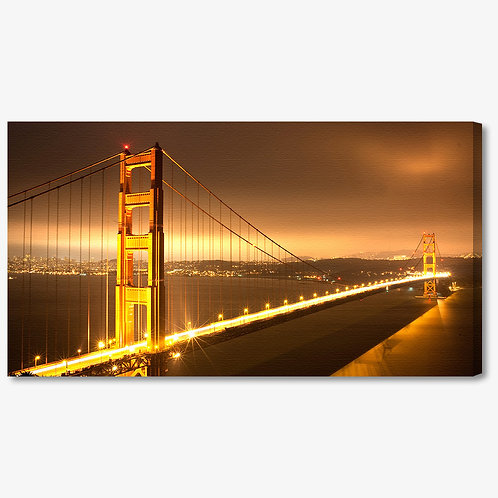 M948 - Quadro moderno Golden Gate Bridge colori caldi