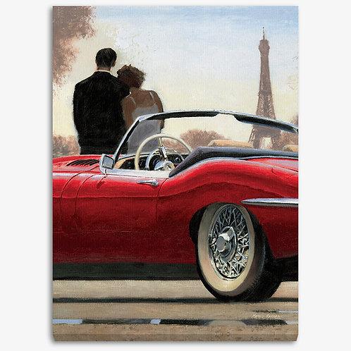 WA208 - Quadro moderno Parigi macchina rossa verticale
